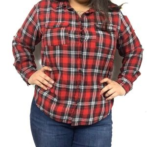 Overdrive plaid red and black shirt